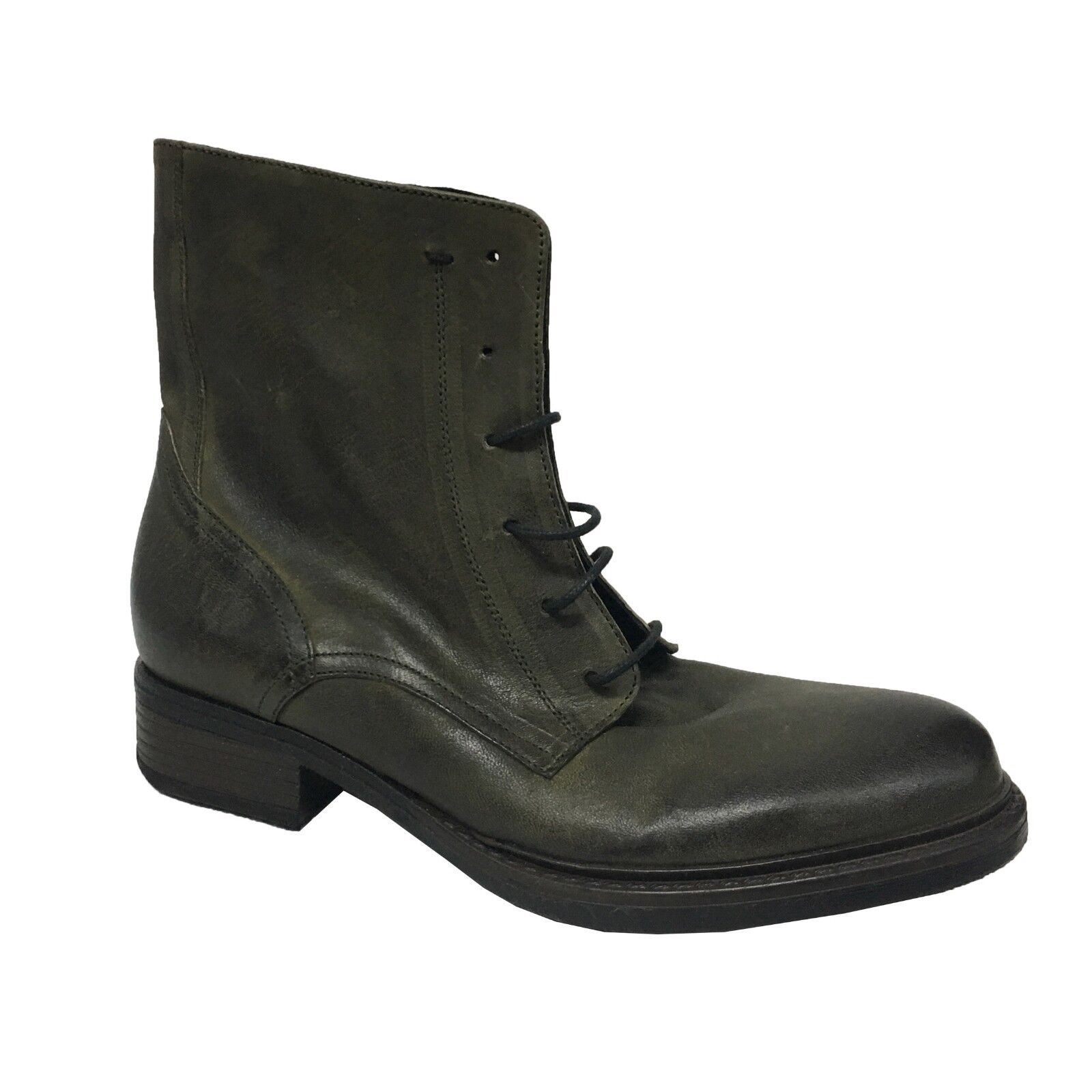 WHY NOT stivale basso donna con lacci verde VALERIE 100% pelle MADE IN ITALY
