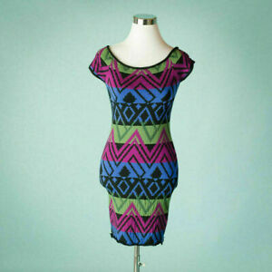 Torn-By-Ronny-Kobo-Small-Size-S-Dress-Wool-Fitted-BodyCon-Geometric-Multi-Color