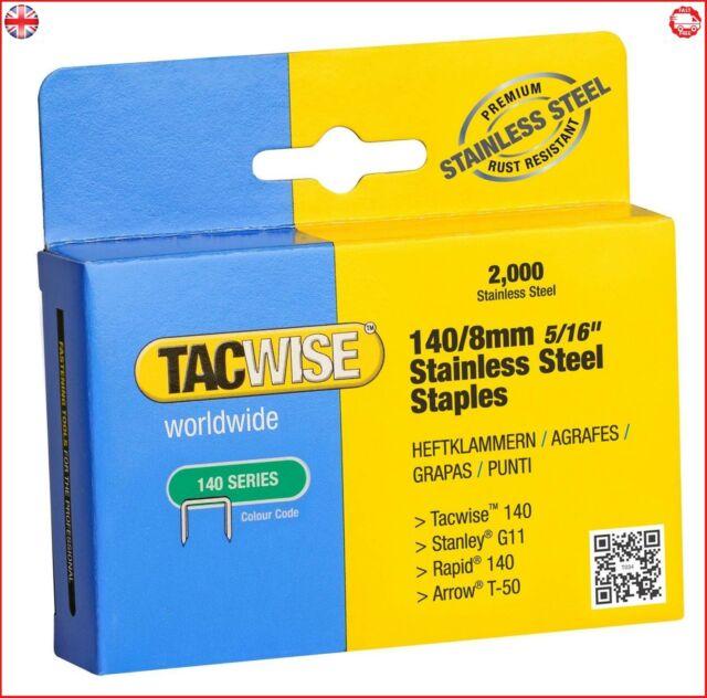 Tacwise 140/8mm en acier inoxydable Staples (Boîte de 2000)