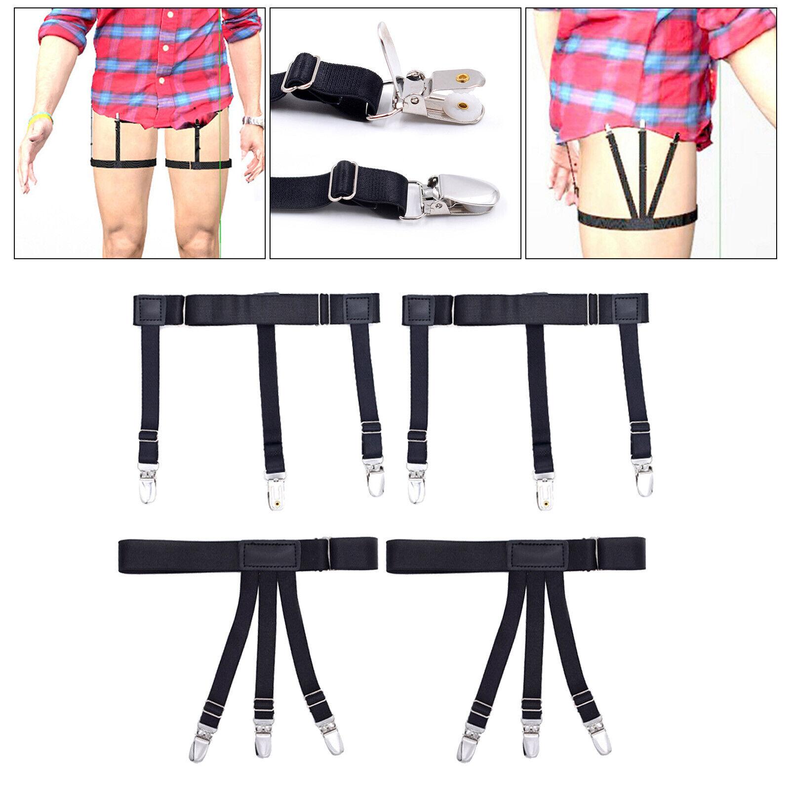 2Pcs Shirt Stays Leg Garter Suspender Shirt Holders Non-Slip Clamps Military