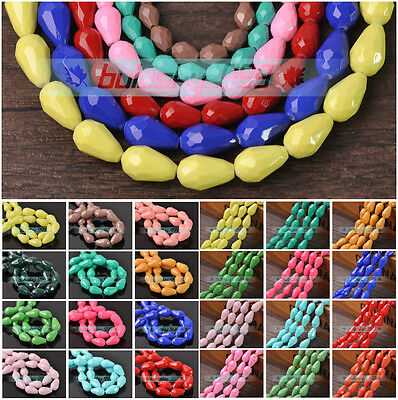 6mm/8mm/10mm Teardrop Faceted Opaque Colorful Crystal Glass Loose Spacer Beads