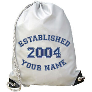 ESTABLISHED *ANY YEAR COLOUR* PERSONALISED GYM / SWIMMING /PE/ DANCE BAG *NAMED*