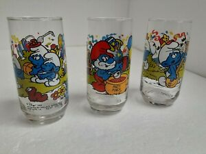 Smurf-Glass-Peyo-Wallace-Berrie-Clear-Vintage-Mid-Century-Modern-1983-Set-of-3