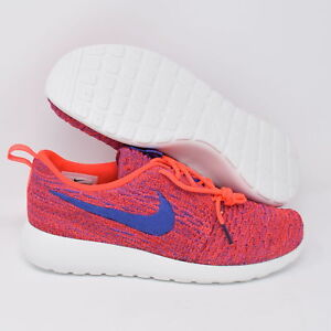 brand new 8c935 50ff8 Details about Nike Roshe One Flyknit 704927-602 Womens Running Shoes Red  Blue & White