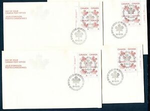 CANADA-1981-MAPLE-LEAF-034-A-034-NO-DENOMINATION-Scott-907-ALL-4-PL-BLOCKS-4-FDC