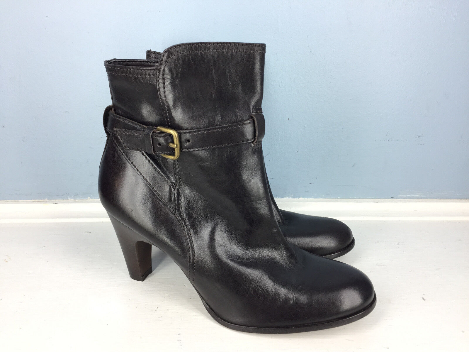 New Antonio Melani Brown Leather high Heel Ankle Boots 6 Career Cocktail  99