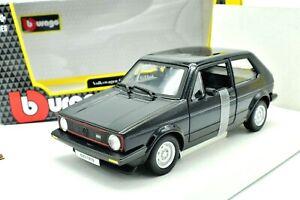 Modello-Auto-VW-Golf-prima-serie-1-SCALA-1-24-BURAGO-modellcar-BLACK-DIECAST