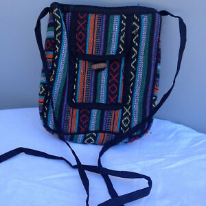 74d94db1adff Details about Gheri Cotton Mulit-Color Stripe Hippie Boho Passport Bag  Purse Hand Bag