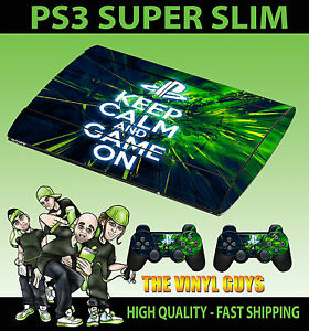 PLAYSTATION-PS3-SUPER-SLIM-KEEP-CALM-AND-GAME-ON-SKIN-STICKER-amp-2-PAD-SKIN