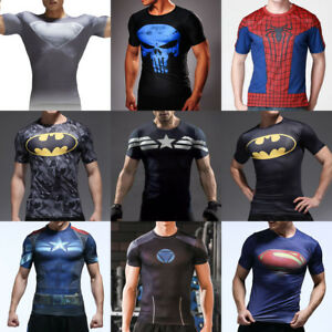 Men s Superhero Marvel Jersey Tops Sport Compression Muscle T-shirt ... f86774955