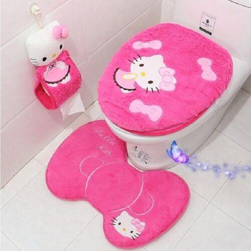 3PCS//4PCS Hello Kitty Bathroom Set Toilet Cover WC Seat Cover Bath Mat Holder