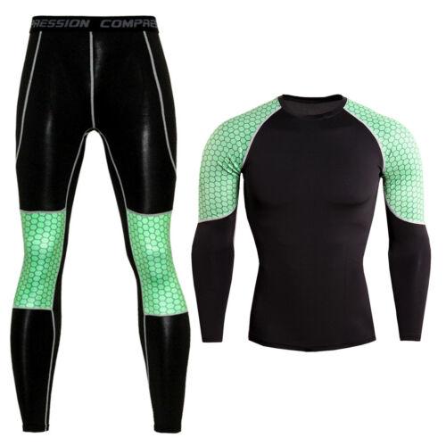 Leggings Pants Workout Gym Suits Mens Tracksuit Set Compression Sport T Shirt