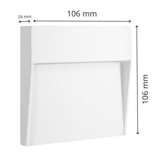 6er Set SCARA LED Wand Treppenbeleuchtung 230V aussen IP54 eckig warmweiß 4,5W