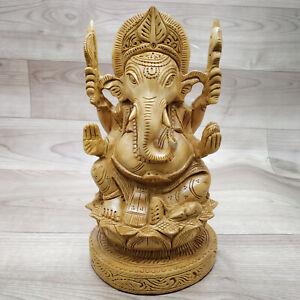 Wooden Handmade Carved Hindu God Ganesha Idol Sculpture Statue Art Home Decor