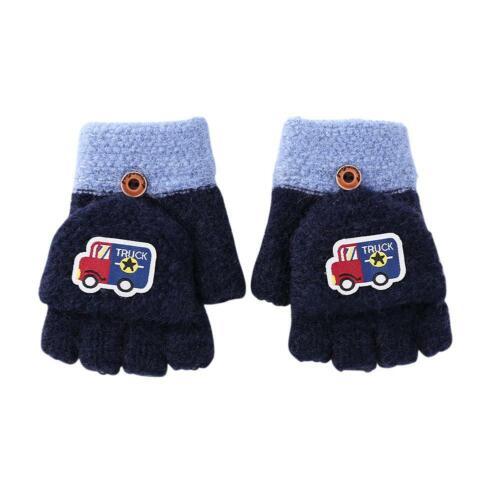 2pcs Children Kid Girl Boy Half Finger Gloves Winter Warm Cute Mittens Hand Muff