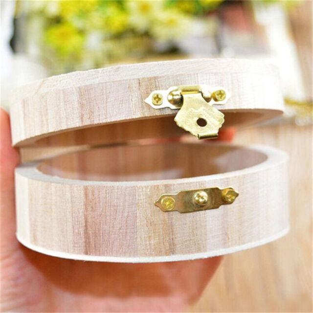 Handmade Round Wooden Jewelry Box Wood Creative Crafts Storage Box DIY Gift LE
