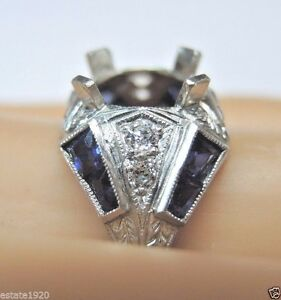 Antique-Art-Deco-Vintage-Ring-Setting-Mounting-Platinum-Engagement-Hold-9-9-5MM