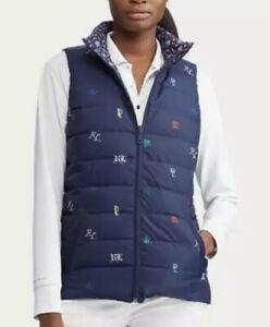 NWT POLO RALPH LAUREN Women Jacket Quilt Vest Duck Down Reversible Blue S M L