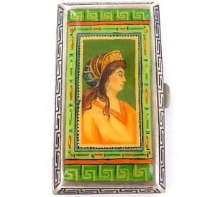 SUPERB-ANTIQUE-PRE-1922-AUSTRO-HUNGARIAN-800-SILVER-ENAMELLED-CASE