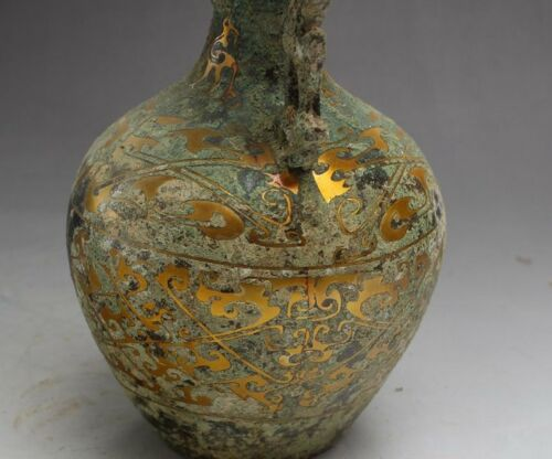 """7/""""  Chinese Old Antique Brass gold-plated double dragon vase decoration"""