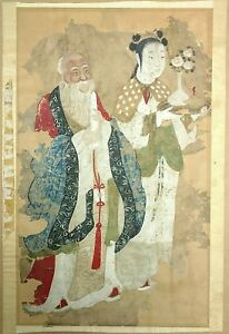 Antique-21in-Chinese-Ming-or-Qing-Immortal-Guan-Yin-Scroll-Painting-To-Restore