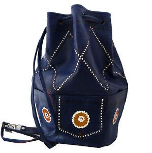 VINTAGE STYLE BAG - Leather shoulder bag - Duffle bag - Drawstring - Bohemian