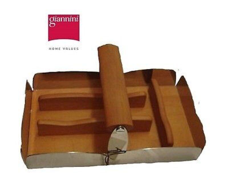 Giannini  portaposate serie  Nuvola  acciaio inox -legno di pero -