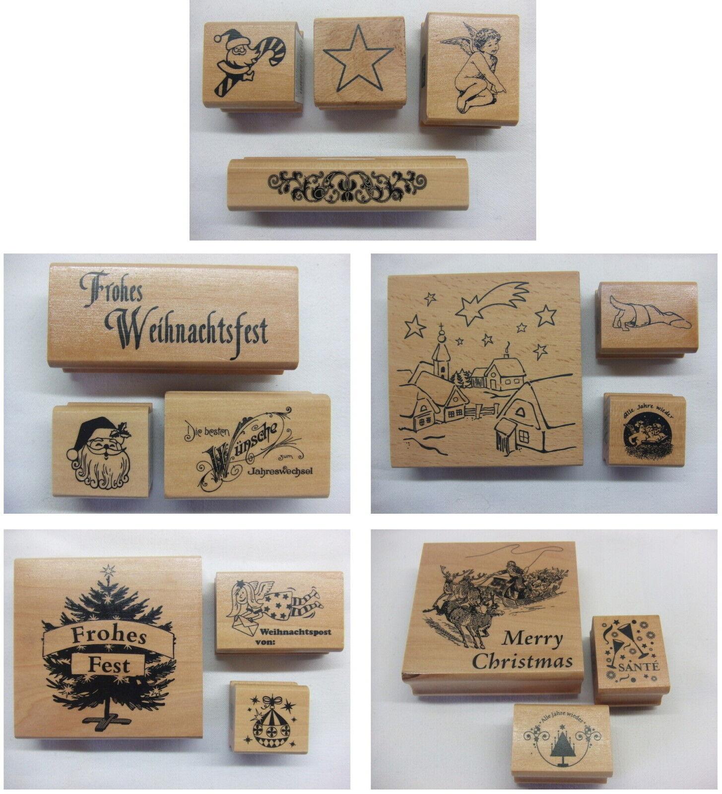 Holzstempel mit Stempelkissen zum Basteln f/ür Kinder Rico Design Stempel-Set Handmade 7 Motive Stempel aus Holz DIY