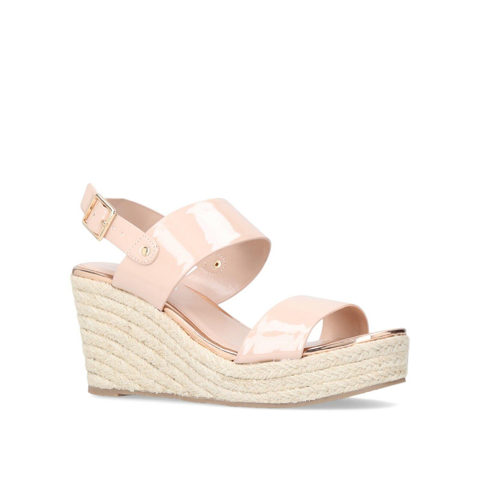 BNIB Carvela Nude Patent Mid Espadrille Wedge Heel Strap Sandals shoes Sz 7 40