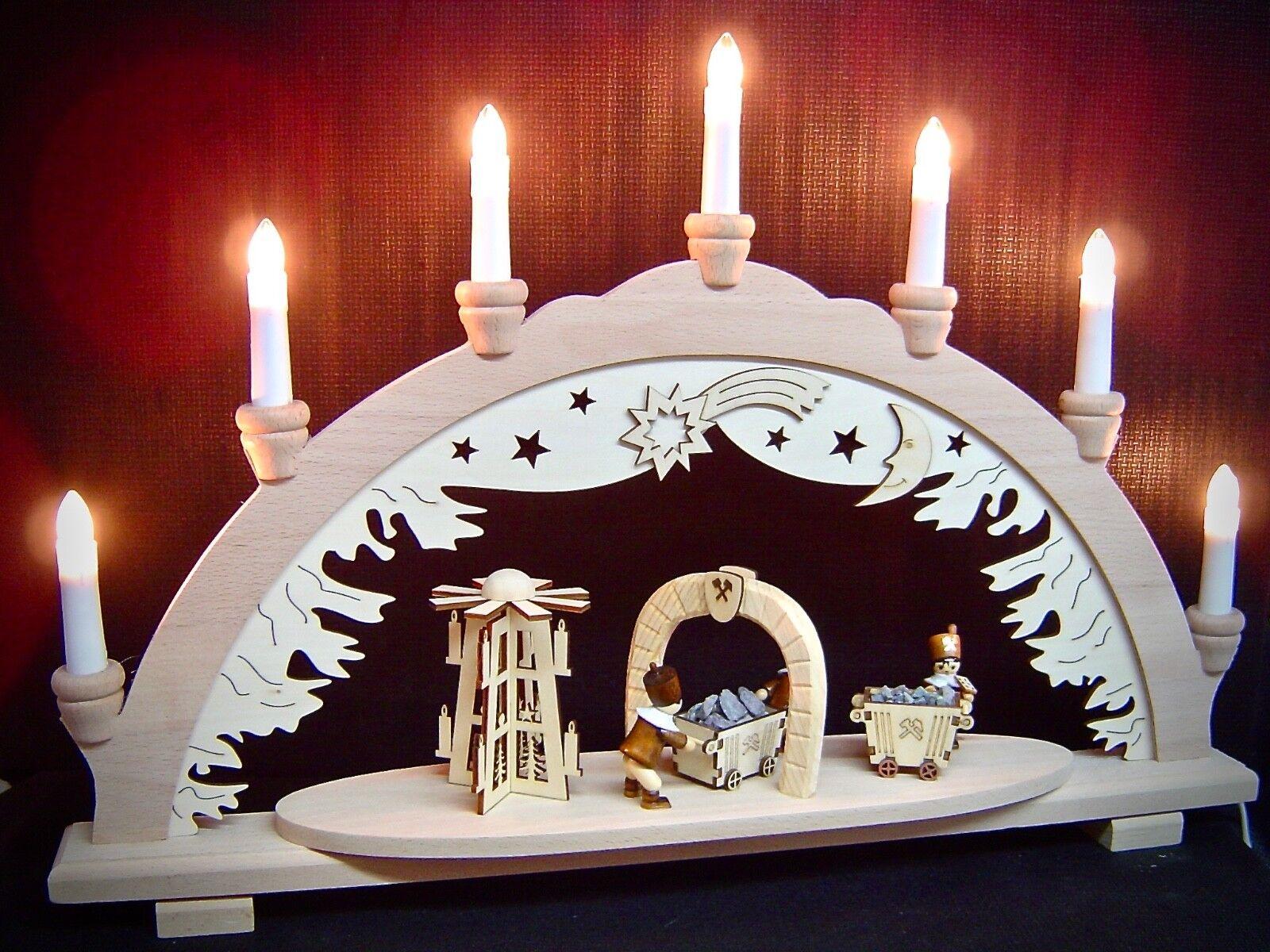 3D Arc à Lumière à Bougies Bergmann 3 Mineurs et Pyramide + Lore 57 cm 10332