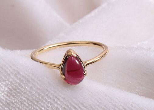 14K solid gold ringgarnet Ringpear ringsolitaire ringgemstone ringSJR0963