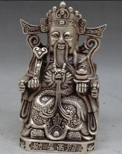 COLLECTIBLE-DECORATED-OLD-HANDWORK-TIBET-SILVER-God-of-wealth-Statue