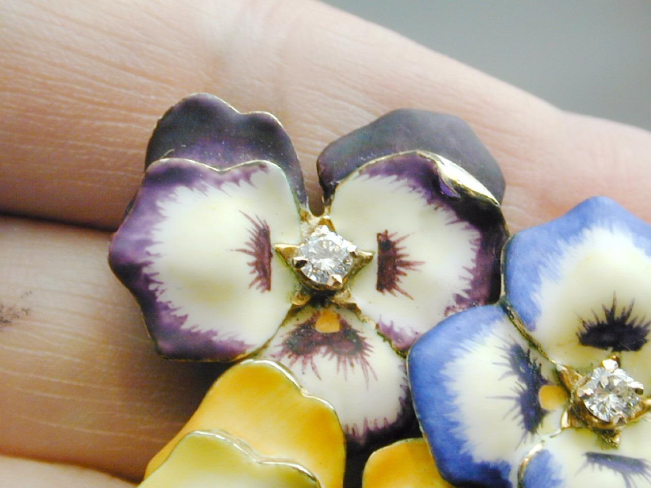 RARE 14k Gold & Diamond Enamel TRIPLE Pansy Pin P… - image 6