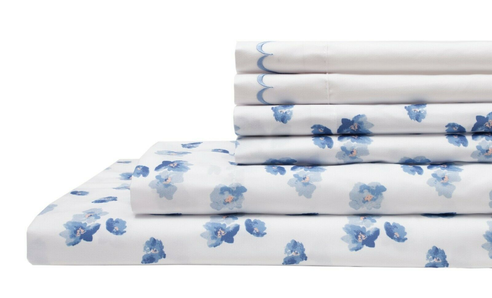 4 6 PC bluee Floral Design Embroidered Sheet Set Flat Fitted & 4 Pillowcase Elite