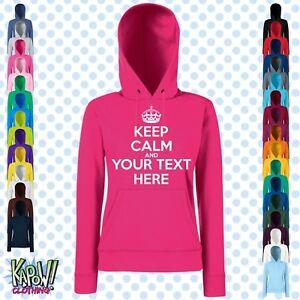 Keep-Calm-And-Carry-On-Custom-felpa-con-cappuccio-da-donna-Scegli-Proprio-Testo-Personalizzare