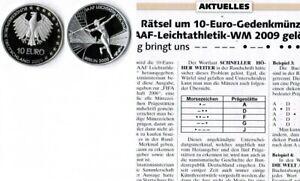 Deutschland-Eurowahrung-10-Euro-Leichtathletik-2009-Munzzeichen-A-pragefrisch