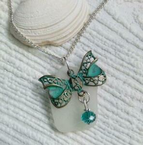 Sea glass necklace and a patina butterfly   Sea glass jewellery.