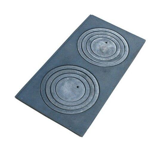 Gussplatte au Four 2-Trou notes Cuisine en Fonte 60x30cm sans rainure Cast Iron