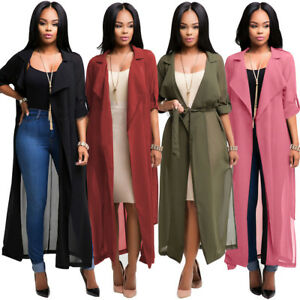 Women-039-s-Lapel-Roll-up-Long-Sleeve-Belted-Trench-Coat-Full-Length-Chiffon-Jacket