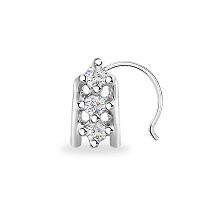 CZ WOMEN/'S NOSE PIN 14K WHITE GOLD FINISH 925 STERLING SILVER THREE STONE FLOWER