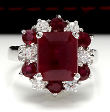 7.05 Carats Natural Red Ruby and Diamond 14K Solid White Gold Ring