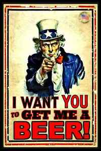 BRING-ME-A-BEER-METAL-SIGN-USA-8-034-X12-034-FUNNY-MAN-CAVE-BAR-HAPPY-HOUR-UNCLE-SAM
