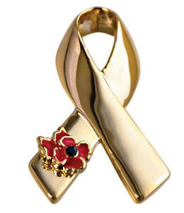 Luxury-Gold-Ribbon-with-Symbolic-Day-Poppy-Flower-Awareness-Bow-Pin-Brooch-BR396