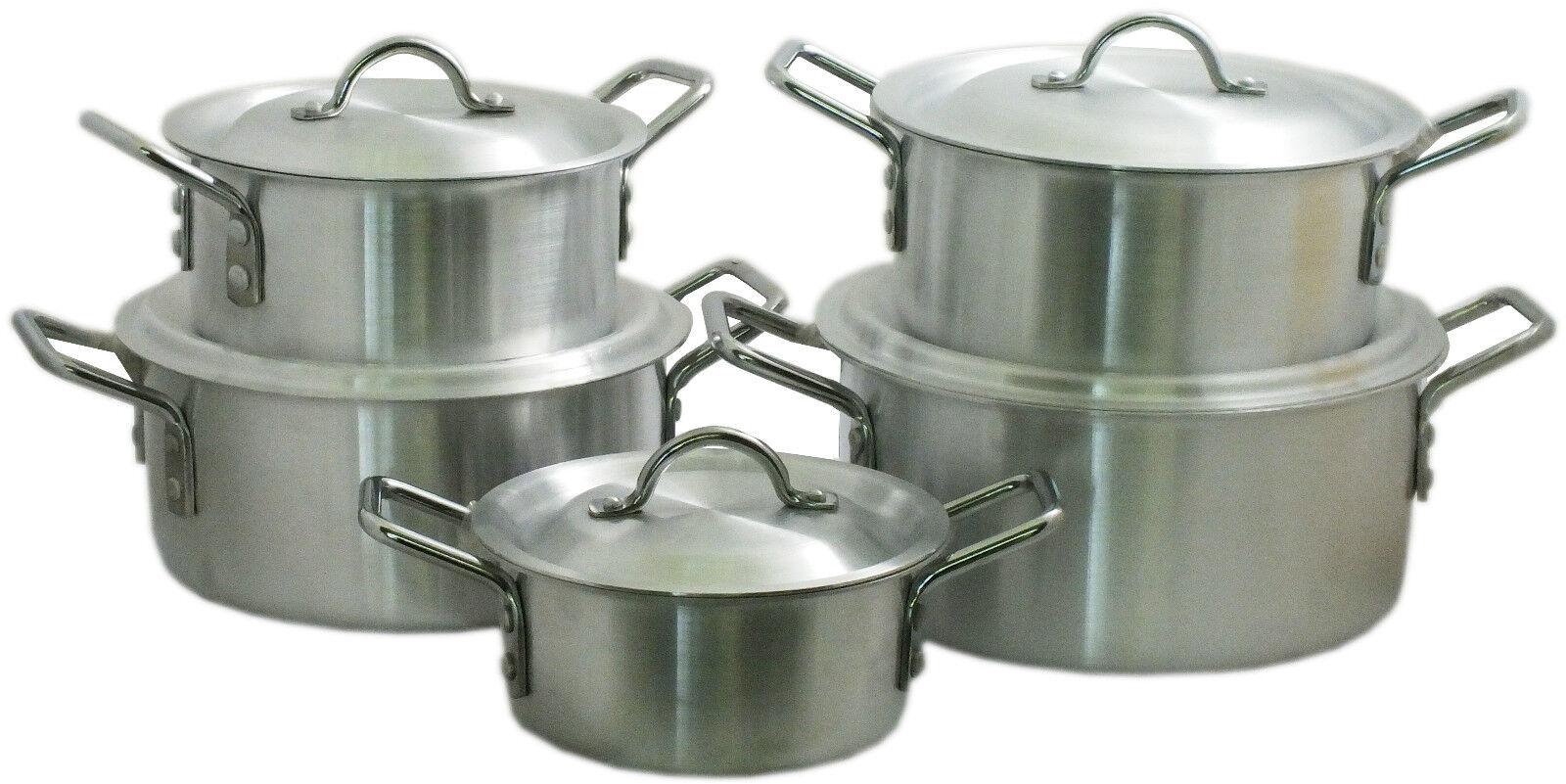 5 piece set de cuisine en aluminium avec couvercle