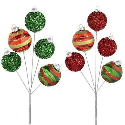 Christmas Ball Ornament Floral Spray Pick beaded & clear S/2 RAZ  pm f3316569