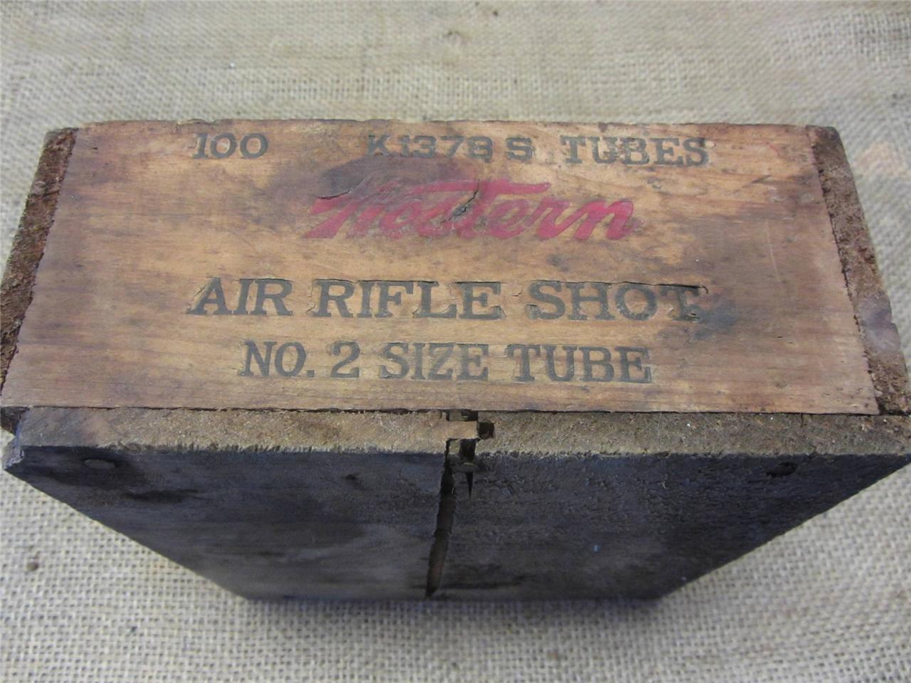 Vintage De Madera Western Air Rifle tiro de municiones Caja Crate & gt Antiguo Pistola Caza 8751