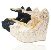 Womens Platform Lace Floral Peep Toe Ankle Strap Wedge High Heels Dress Shoes