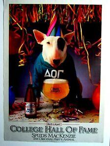 Spuds-Mackenzie-Poster-Original-Party-Animal-College-HOF-19-x-27-034-NOS-1984