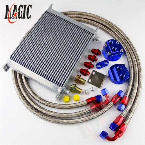Filter Relocation Kit BLUE Universal 30 Row AN-8 Engine Transmission Oil Cooler