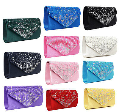 Ladies Italian Designer Diamonte Envelope Clutch Shoulder Bag Fashion Purse